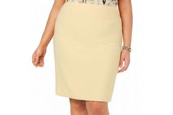 Kasper Women's Yellow Size 20W Plus Straight Pencil Crepe Work Skirt