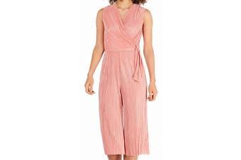 Connected Women's Jumpsuit Coral Pink Size 8 Surplice Bodre Metallic