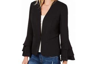 Bar III Women's Black Size Medium M Tiered Bell Sleeve Jacket Blazer
