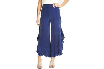 1.State Women's Pants Blue Size 6X27 Comfort Ruffled Wide-Leg Slit