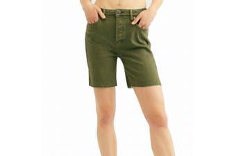 Free People Women's Shorts Green Size 24 Avery Bermuda Raw Hem Denim