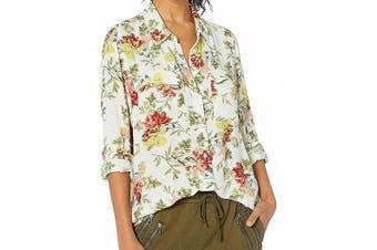Lucky Brand Women's Top Yellow Size Medium M Floral Button Down Shirt