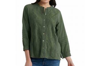 Lucky Brand Women's Blouse Olive Green Size Medium M Button Down Shirt