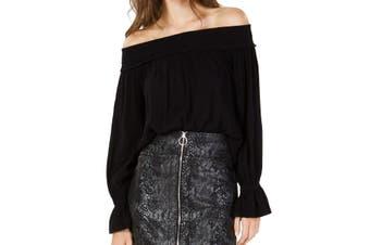 INC Women's Black Size Large L Smocked Off Shoulder Gauze Blouse