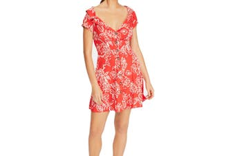 Free People Women's Dress Cherry Combo Red Size 8 A-Line Button Front