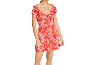 Free People Women's Dress Cherry Combo Red Size 10 A-Line Button Front