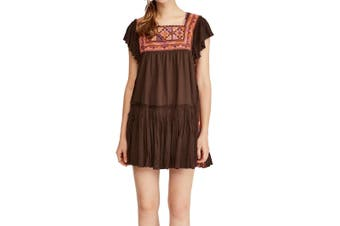 Free People Women's Dress Deep Brown Size Medium M Shift Contrast Trim