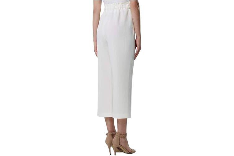 Tahari By ASL Women Dress Pants White Ivory Size 10X25 Wide Leg Stretch