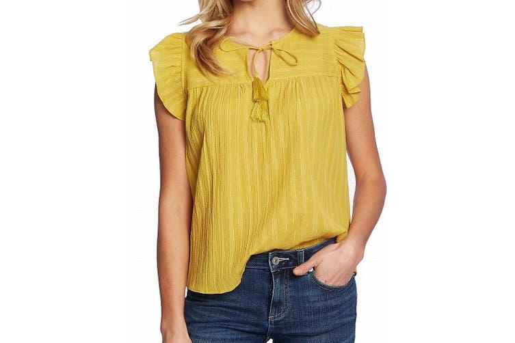 CeCe Women's Blouse Yellow Size Large L Metallic Stripe Flutter Sleeve