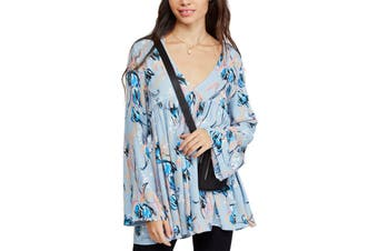 Free People Women's Tunic Blue Size XS Floral Printed V-Neck Pleated
