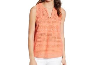 Lucky Brand Women's Tank Top Orange Size Small S Eyelet Sleeveless