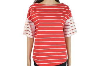 Lauren by Ralph Lauren Women's Blouse Red Size Small S Striped Kalenka