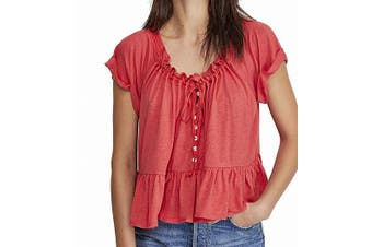 Free People Women's Top Red Size Large L Knit Crochet Flounce-Hem