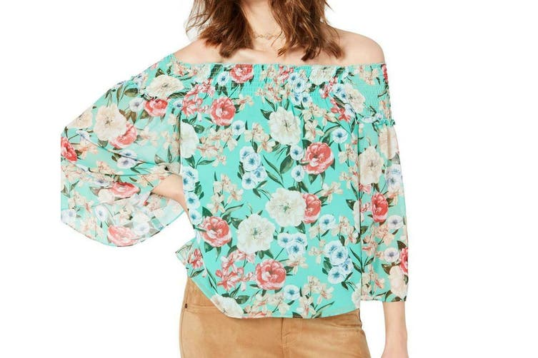 INC Women's Blouse Green Size XL Off-Shoulder Smocked Floral Printed