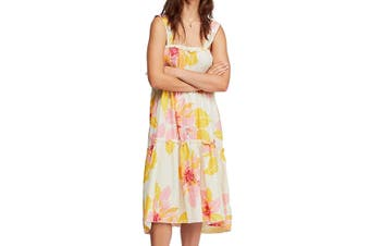 Free People Women's Dress Yellow Size S Shift Floral Print Tiered