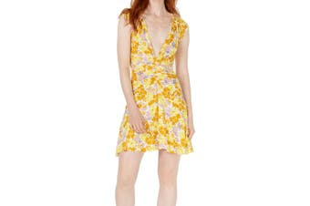 Free People Women's Dress Yellow Size Medium M A-Line Floral Ruched