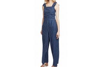 Rachel Rachel Roy Women's Jumpsuit Navy Blue Size 2 Striped Tie Strap