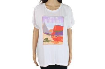 Lauren by Ralph Lauren Women's White Size Medium M Sequin Graphic Tee