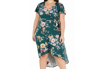 BCX Women's Dress Forest Green Size 3X Plus Floral Wrap High Low