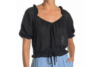 Free People Women's Black Size Large L Illusion Striped Blouson Blouse