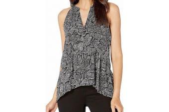 1. State Women's Gray Size Large L Studded Snakeskin Peplum Blouse