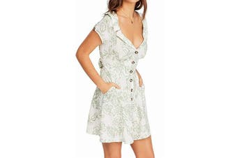 Free People Women's Ivory Green Size 0 A-Line Printed Mini Dress