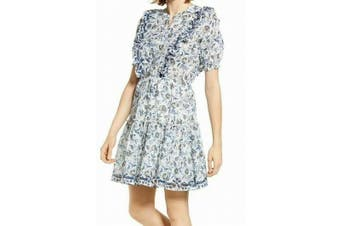 Lucky Brand Women's Blue Size XS Victoria Printed Ruffle Cinch Dress