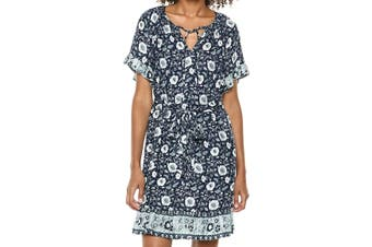 Lucky Brand Women's Blue Size Medium M Floral Printed A-Line Dress