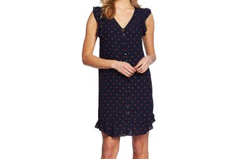 CeCe Women's Blue Size Medium M Polka Dot Ruffle Chiffon Shift Dress