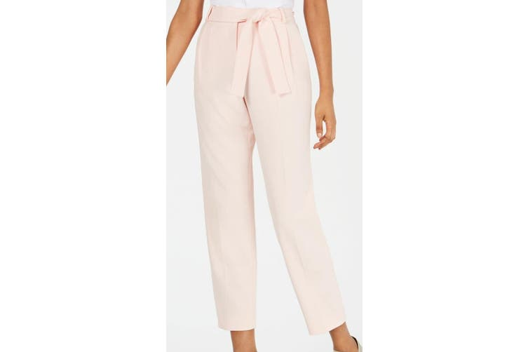 Calvin Klein Women's Pink Size 10P Petite Belted Crop Dress Pants