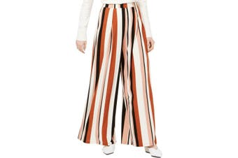 Bar III Women's Pants Brown Size Meduim M Striped Wide-Leg Pull-On