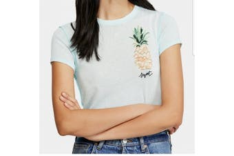 Free People Womens Top Mint Green Size Small S Knit Crewneck Pineapple