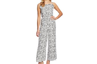 CeCe Women's Jumpsuit White Size 10 Floral Print Ruffled Wide Leg
