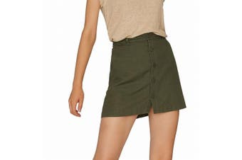 Sanctuary Women's Skirt Military Green Size XL Mini Button Front