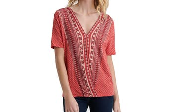 Lucky Brand Women's Top Rust Orange Size Small S Floral Knit Wrap