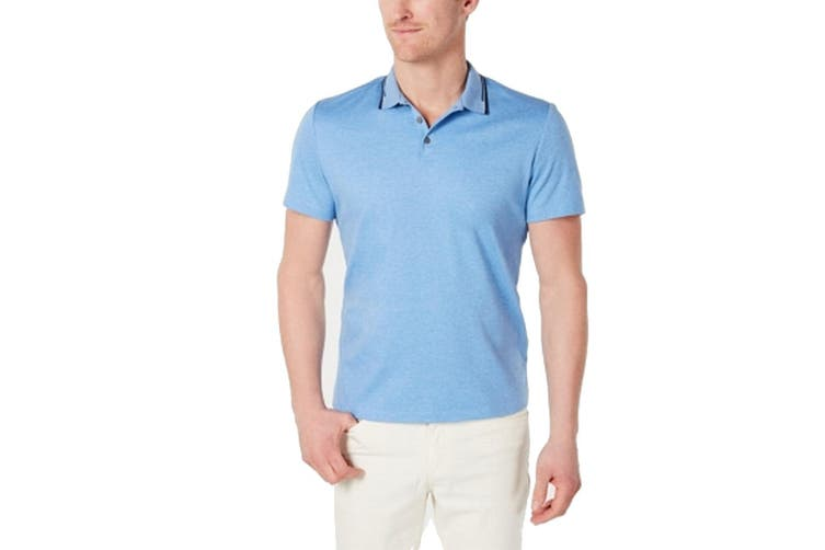 Alfani Mens Shirt Blue Size 3XL Regular-Fit Tipped Heather Polo Rugby
