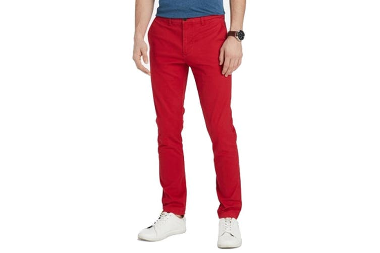 Tommy Hilfiger Mens Pants Red Size 34X32 Custom Fit Chinos Stretch