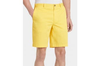 Calvin Klein Mens Yellow Size 40 Refined 9 Inch Flat Front Chino Shorts