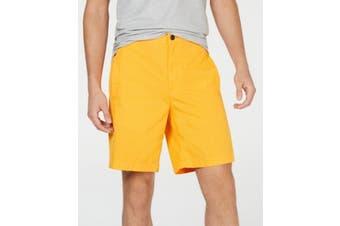 DKNY Men's Marigold Yellow Size XL Flat Front 9 Inch Welt Pocket Shorts