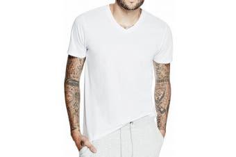 GUESS Mens T-Shirt White Size XL Mason Yoke V-Neck Short Sleeve
