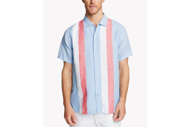 Nautica Mens Shirt Blue Size XL Classic Fit Sail Striped Button Down