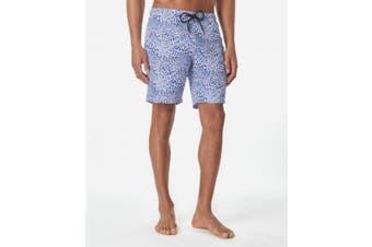 Tallia Mens Blue Size Small S Drawstring Leopard Print Swim Trunks