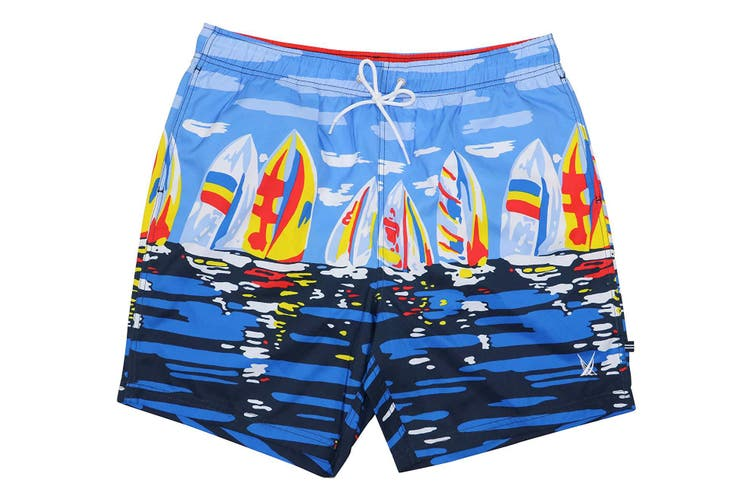 Nautica Mens Swimwear Blue Size XL Sailboat Print Stretch Trunks Shorts