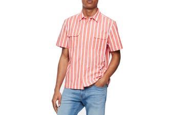 Calvin Klein Jeans Mens Shirt Pink Size Medium M Stripe Print Button Up