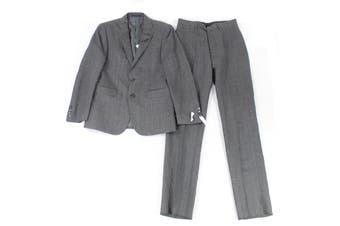 Calvin Klein Mens Suit Set Gray Size 38 2 Piece Plaid Print Linen Slim