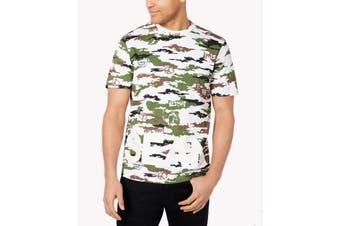 Sean John Mens T-Shirt Green Size Medium M Camo Graphic Short Sleeve