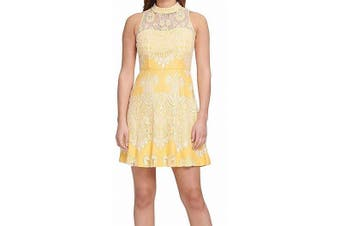 Kensie Women's Dress Sunshine Yellow Size 4 A-Line Lace Embroidered