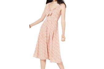 City Studio Women's Dress Pink Size XXL A-Line Floral Tie Front Midi
