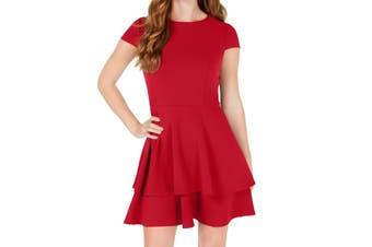 B. Darlin Dress Deep Red Size 3 Junior A-Line Double Layered Skirt