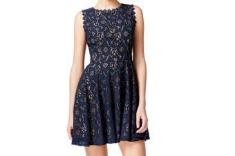 City Studio Dress Navy Blue Size 3 Junior A-Line Lace Scallop Trim